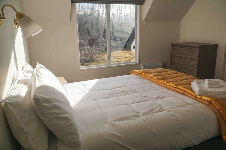Upstairs bedroom with Queen bed and walk in wardrobe