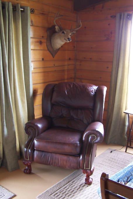 Comfy recliner in Cowboy King Room