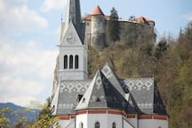 Bled castle and church taken from terrace