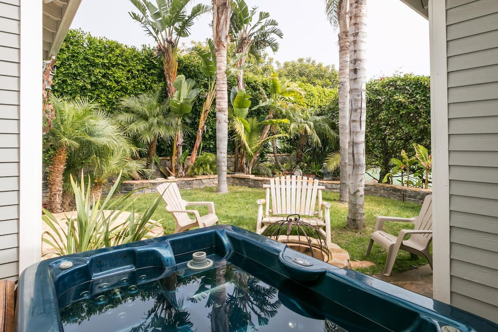The private backyard is full of tropical plants