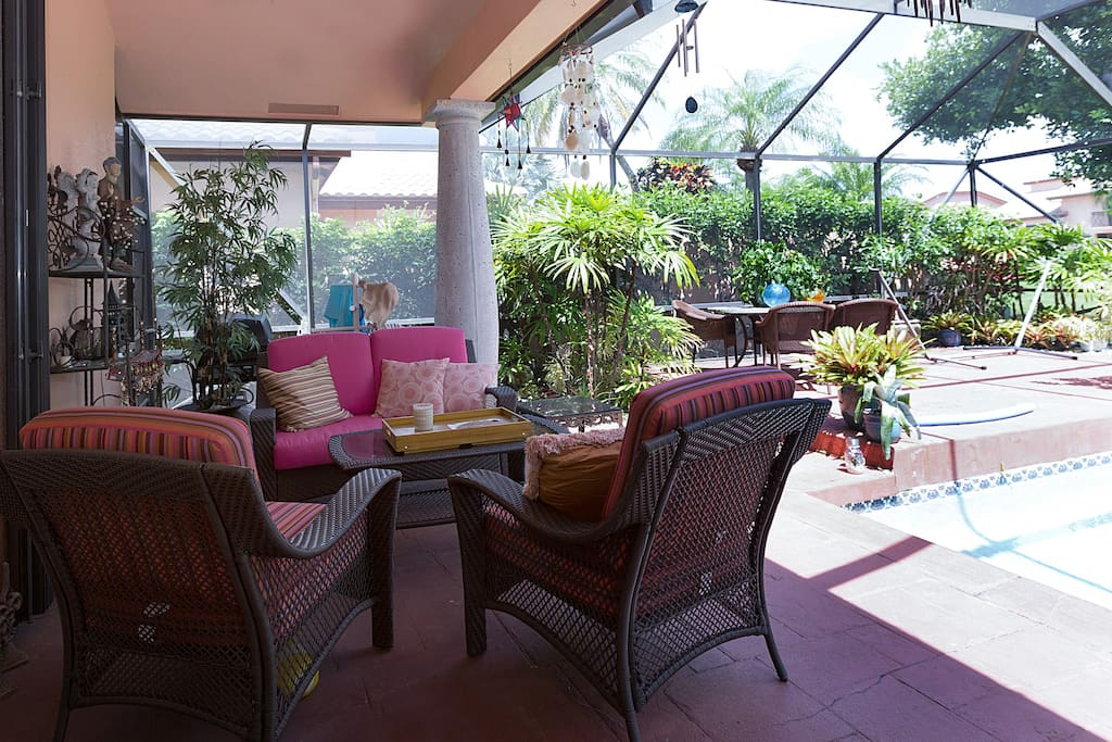 Backyard (BBQ is behind pink couch)