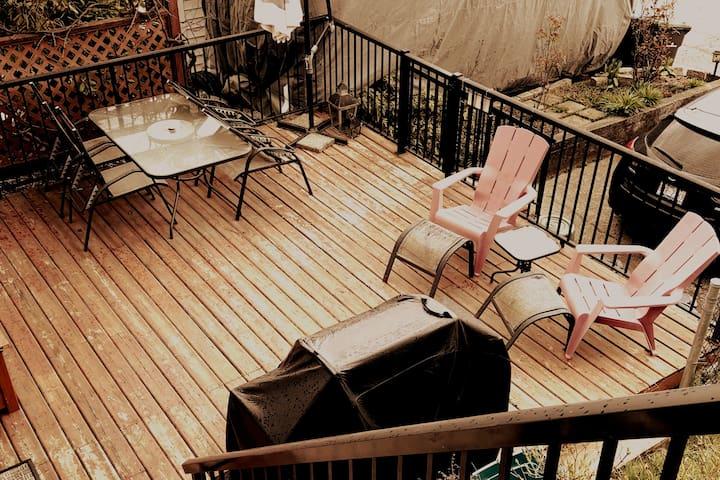 Near RCH, JIBC, skytrain | fireplace, deck, W/D