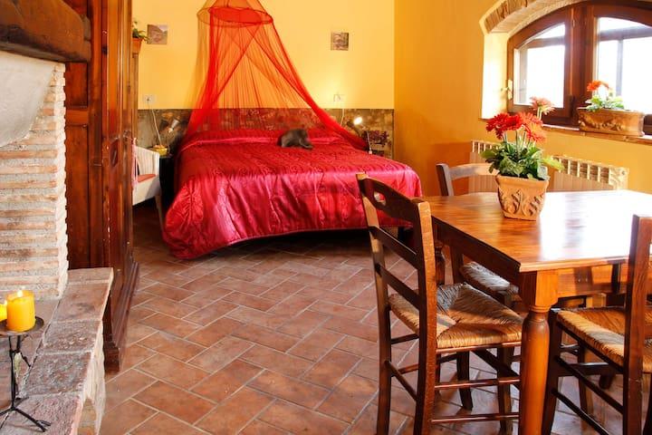 Area soggiorno e camera da letto