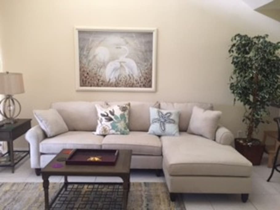 Sofa and coffee table to watch TV or entertain a friend