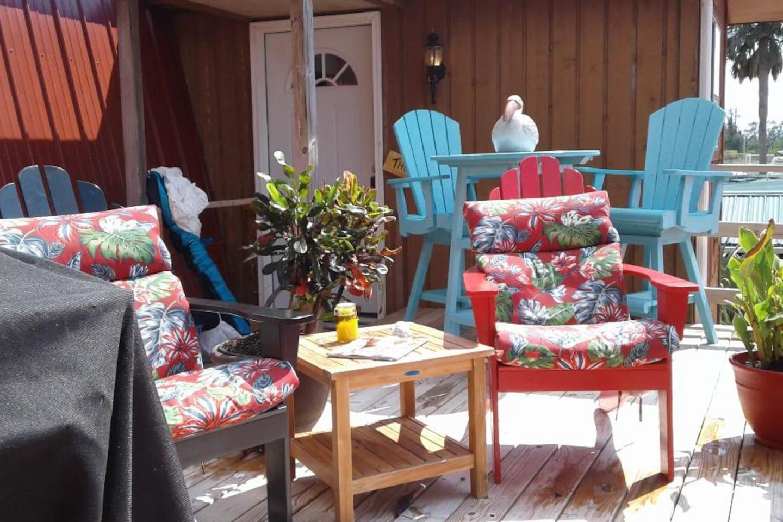 Upper deck lounge area looking towards The Pelican front door.