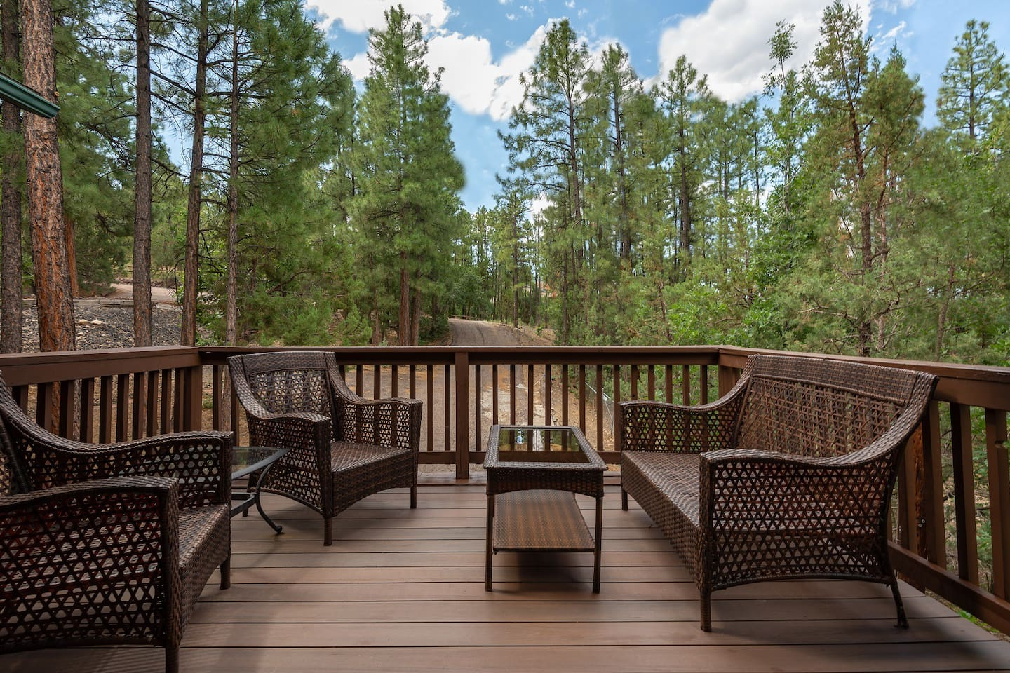 All year long the porch offers beautiful views and the enticing smell of pine trees.