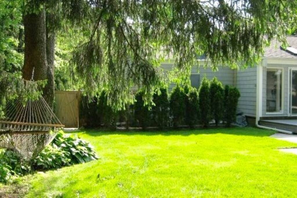 View of large side yard and the left side of the back of the house.