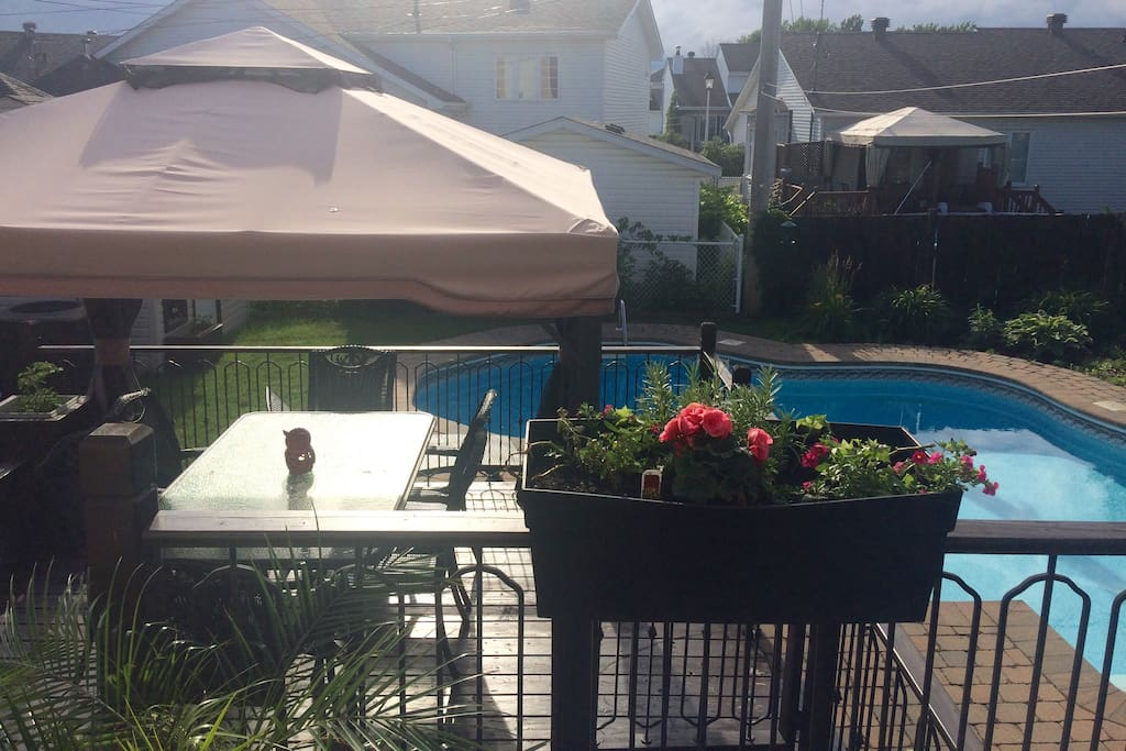 Backyard with gazebo, BBQ and beautiful warmed pool