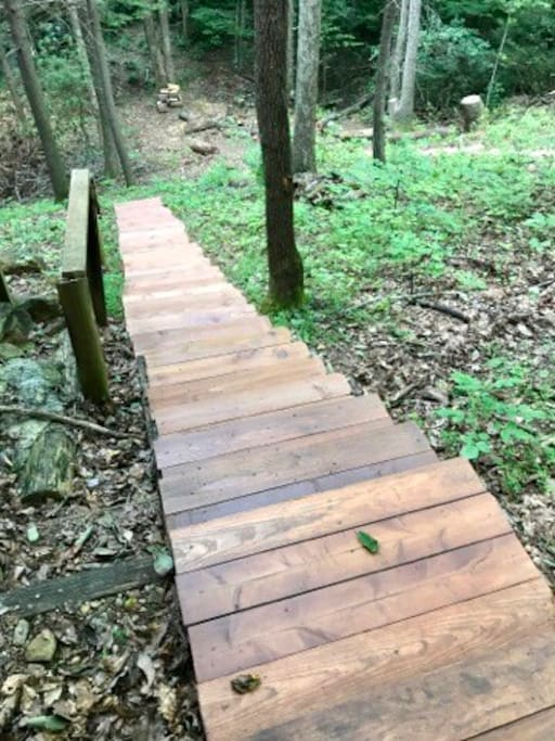 Stairs to the creek, lead to fire pit