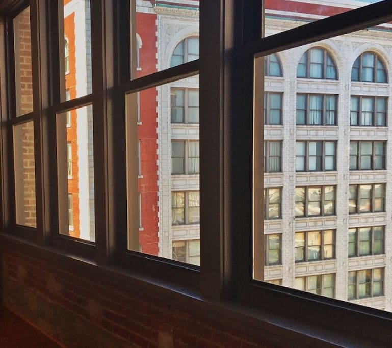 Views of Washington Avenue from the large kitchen windows.