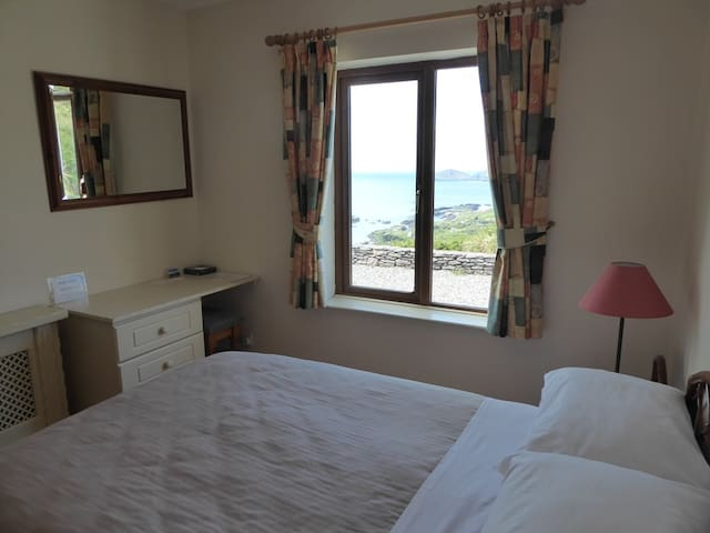 Room 3 - sea views, comfortable double bed with private full bathroom adjacent. Use room 4 as twin combo. Same price.