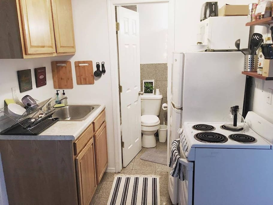 shared kitchen and bathroom