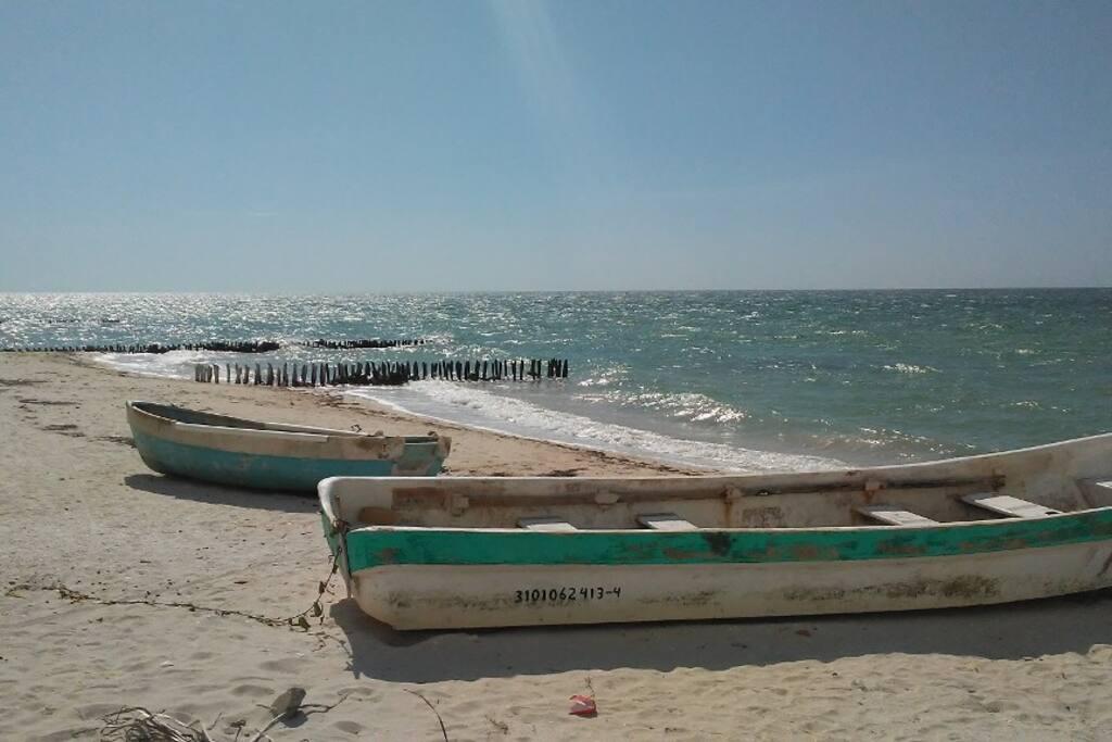 this is the beautiful Yucatan gulf coast beach 1 block away