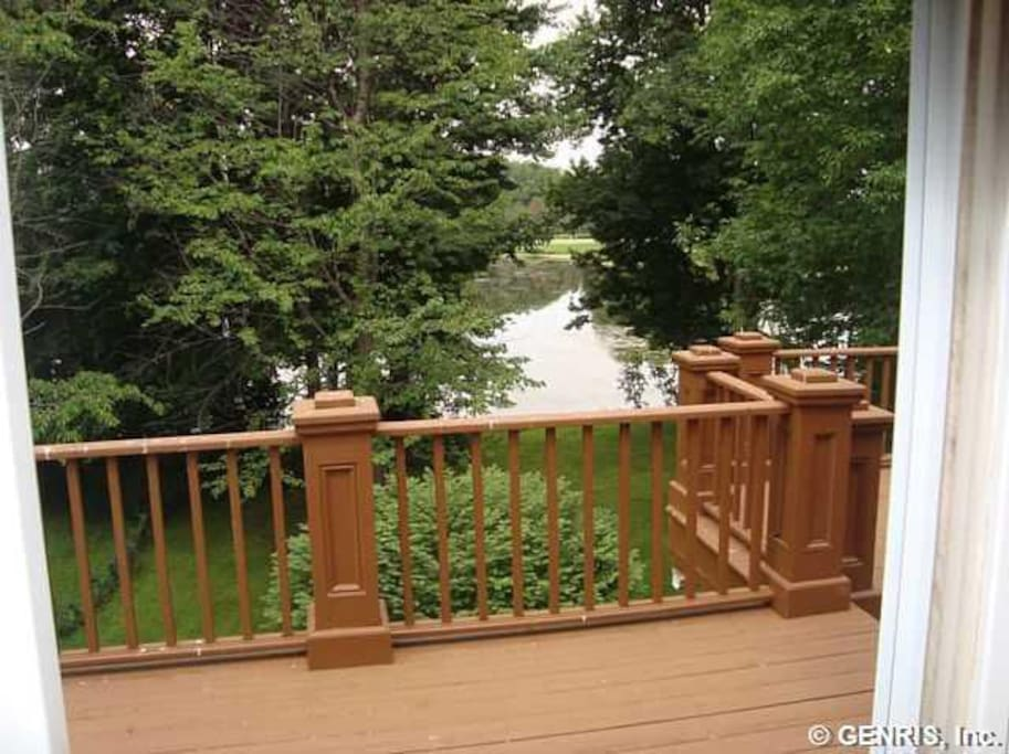 Upper back deck with views of lake