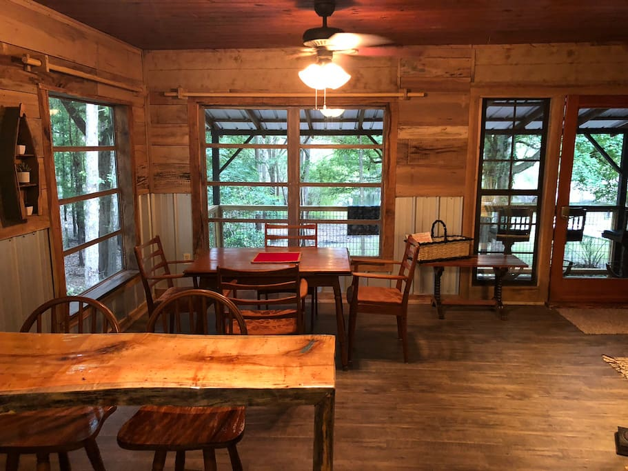 Dining and gathering area. Wood accents everywhere