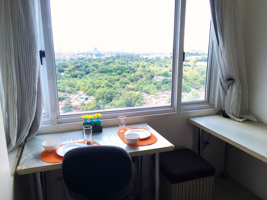Enjoy the view as you dine or study