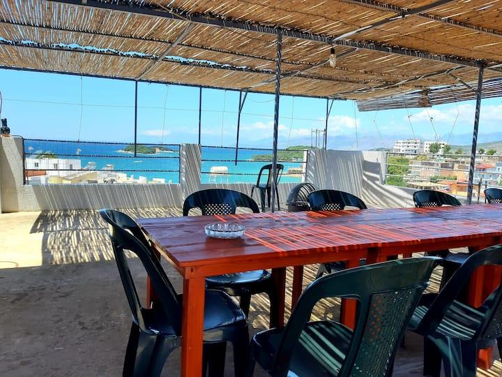 Amazing view,private studio in villa,near beach