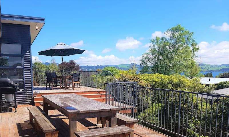 Large entertainers deck with views of the lake