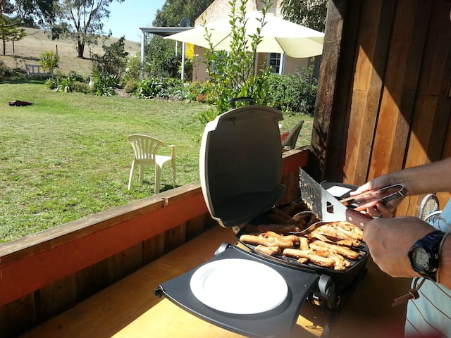 Barbecuing.