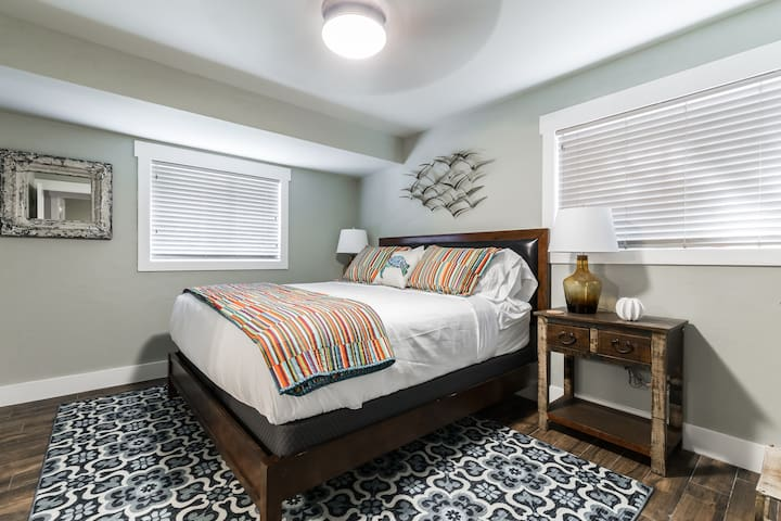 Master bedroom with King bed, pillow top mattress and luxury linens