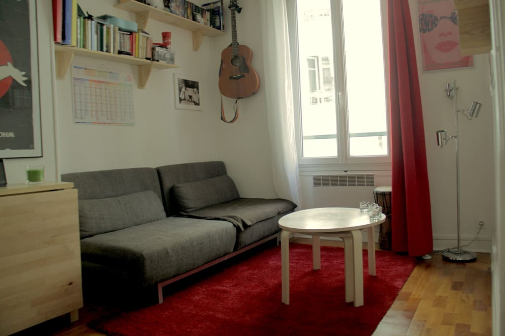 Salon confortable et calme. Toutes les fenêtre de l'appartement ont le double vitrage.