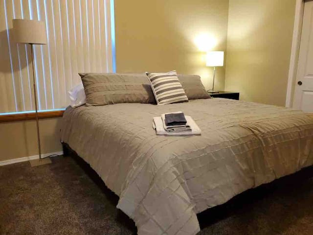 King bed with walkin closets and ensuite.  Bed so comfortable, you won't want to get up...
