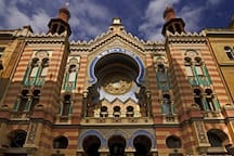 The synagogue is designed in Moorish Revival form with Art Nouveau decoration !  - in  2 min  walk from the apartment