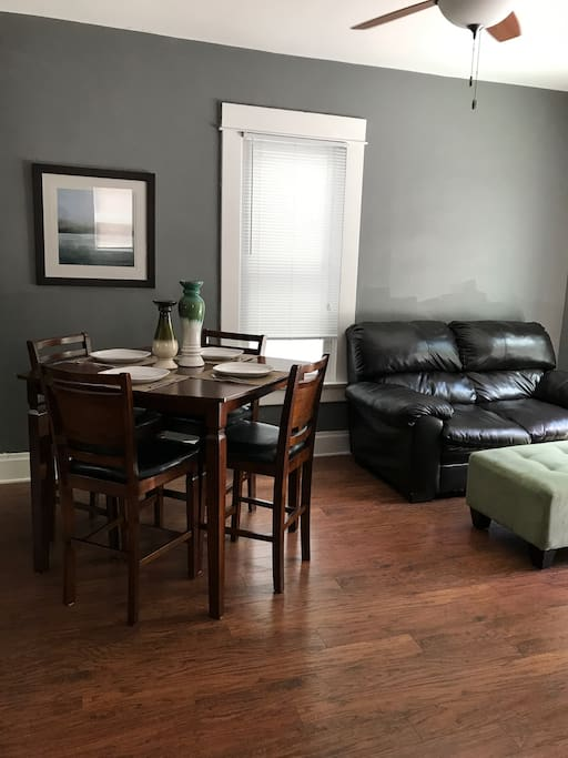 Dinette for four and love seat w/ ottoman