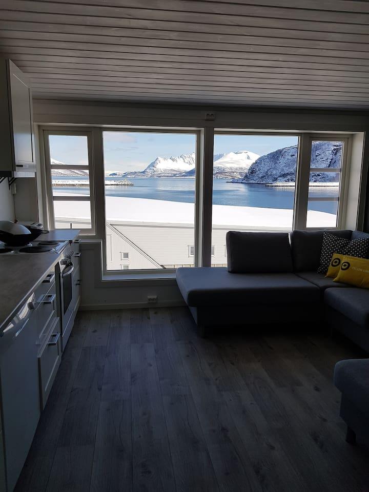 Stue og kjøkken med fantastisk utsikt fra både sofakrok og spiseplass