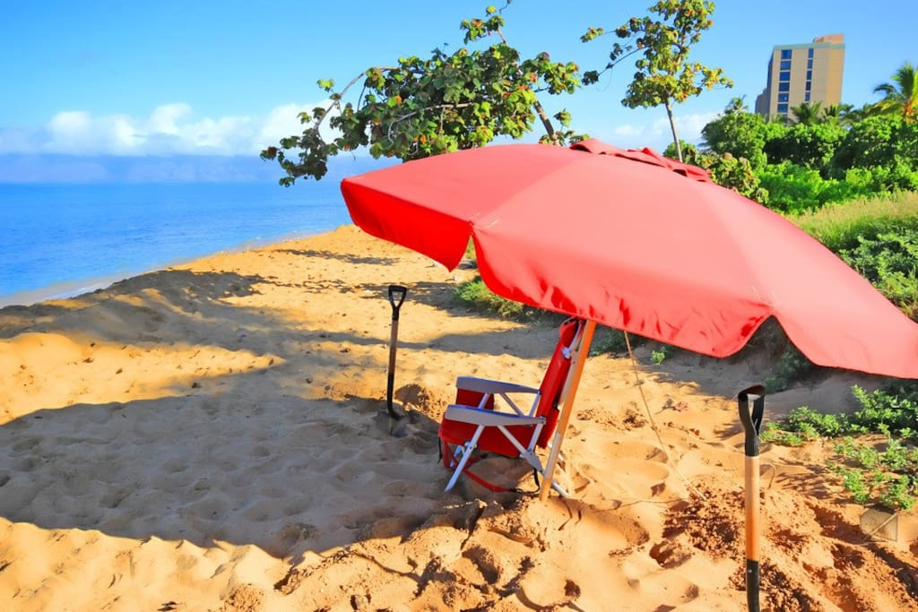Grab a beach chair and umbrella for a day at the beach. InvitedHome provides beach chairs and umbrellas in each condo for guest use.