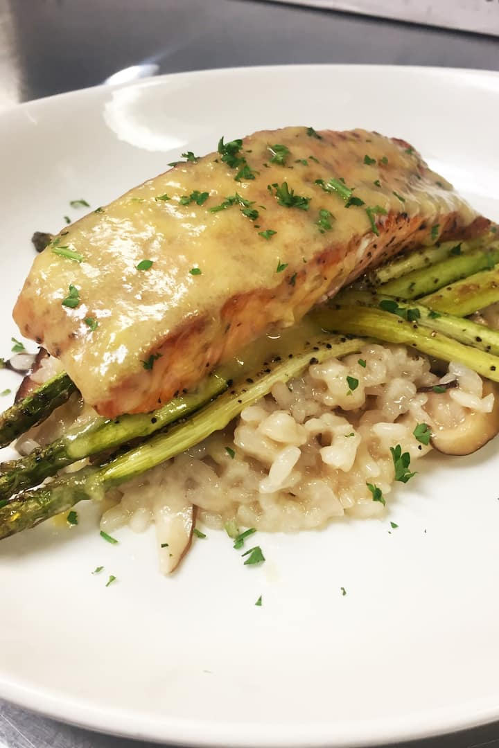 Oven Roasted Salmon over Asparagus and Mushroom Risotto