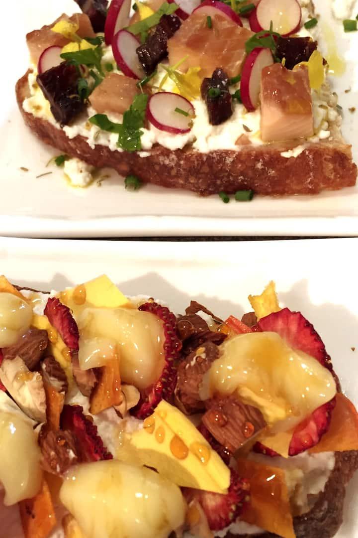 Tartines, savory and sweet.