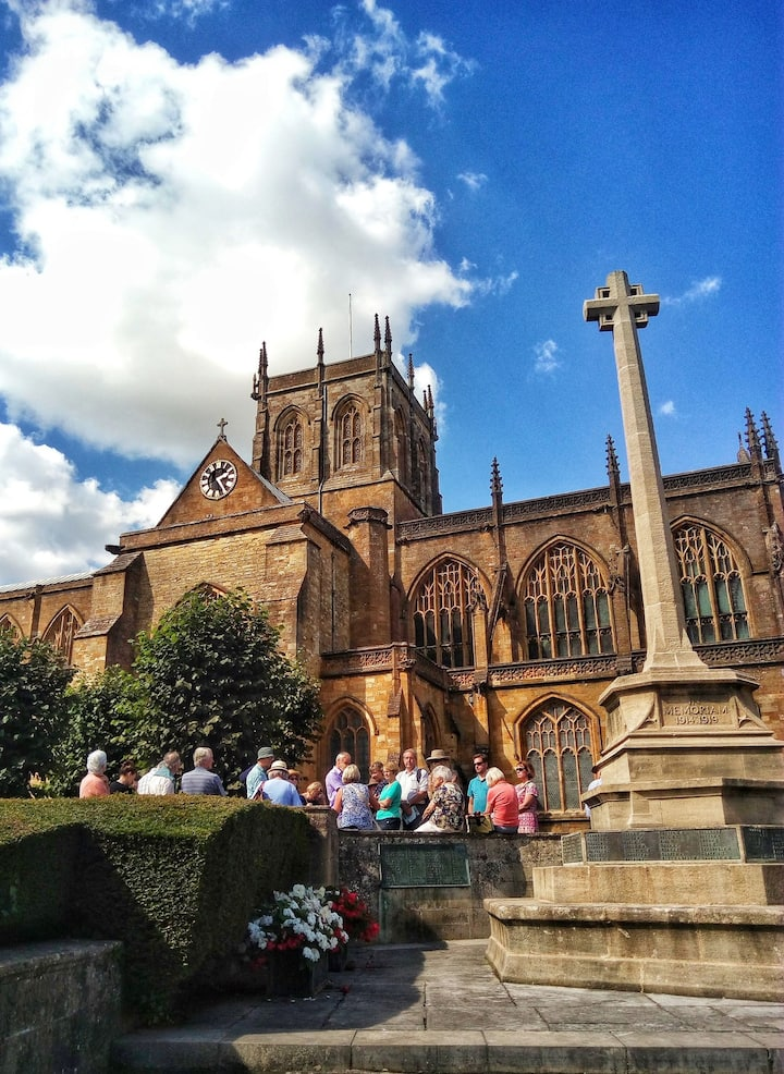 A group outside Sherborne Abbey
