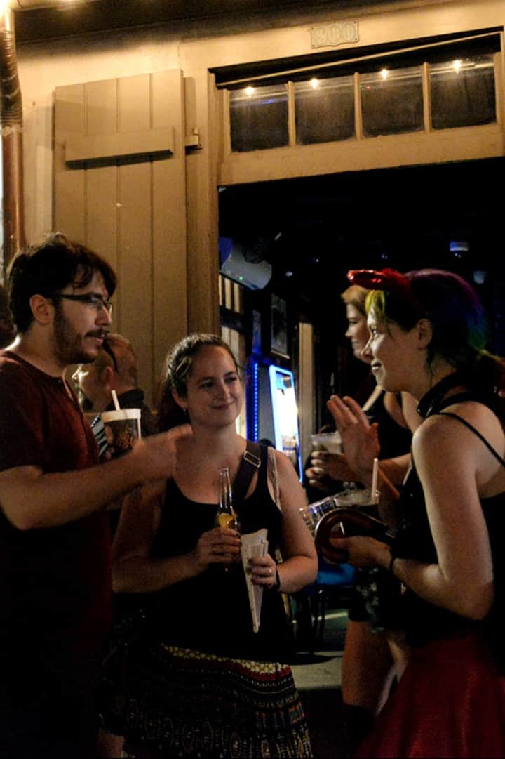 Deep in conversation at Lafitte's