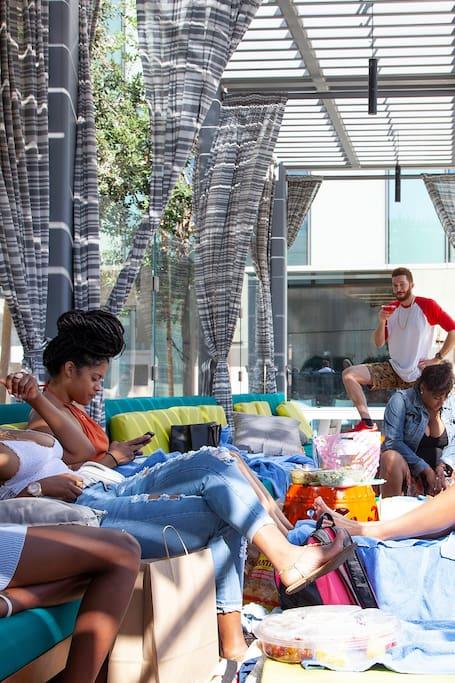 A lovely group enjoying Cabana Life