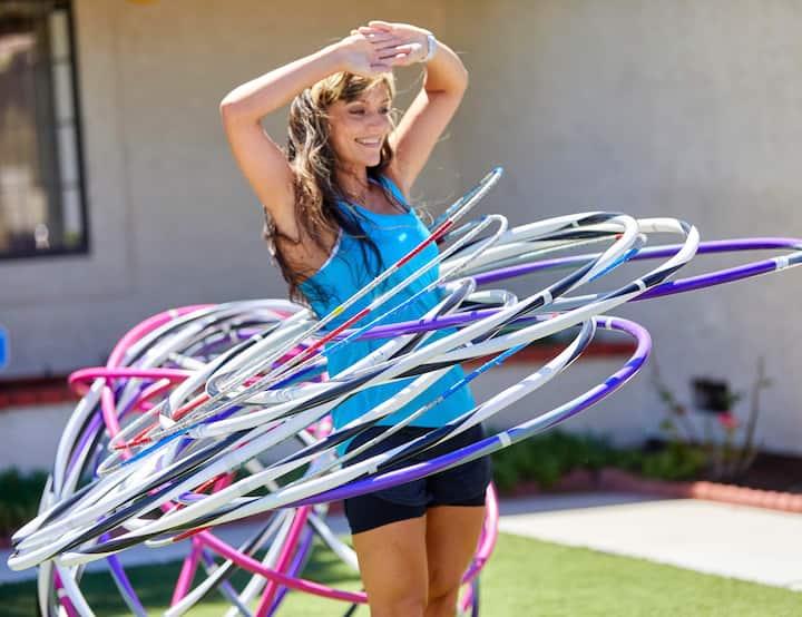 Demonstration of spinning multiple hoops