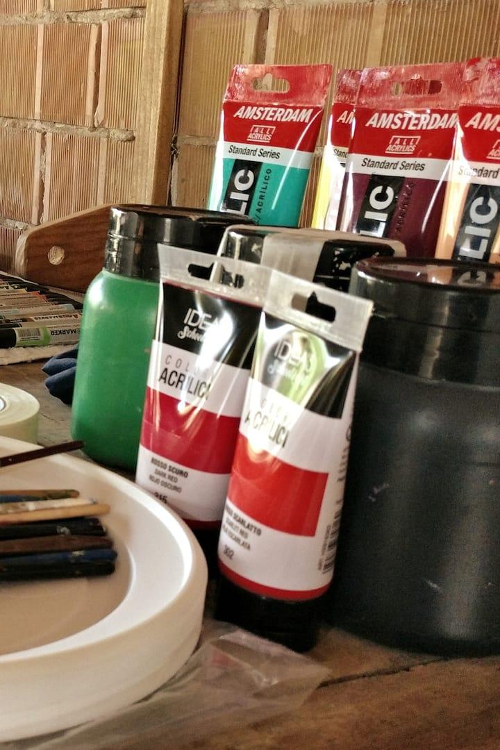 I colori acrilici che useremo.
