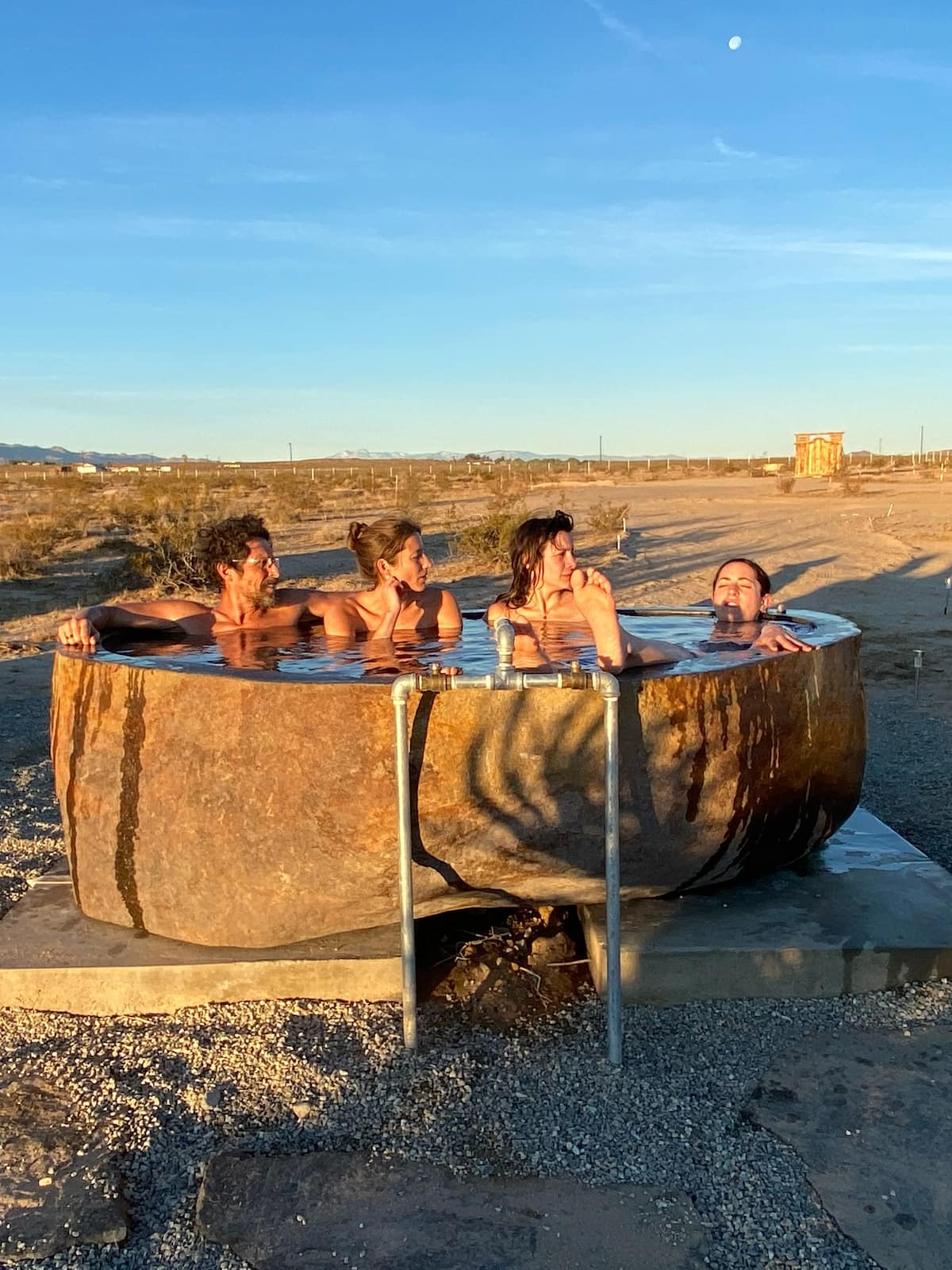 Hot springs soaking in a tub
