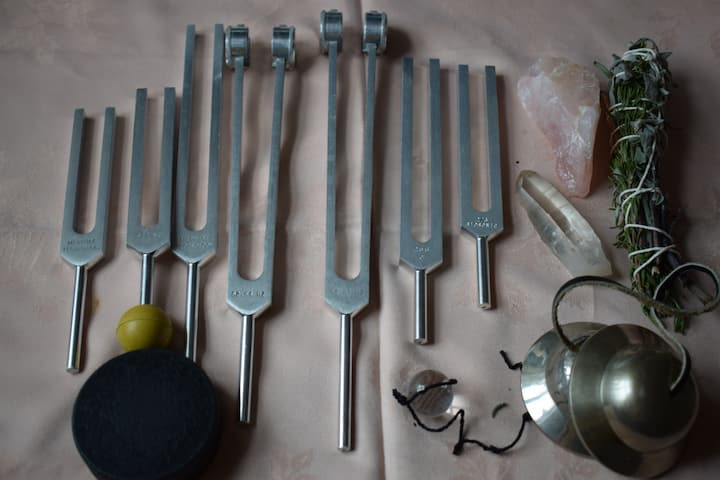 Tuning forks used in session