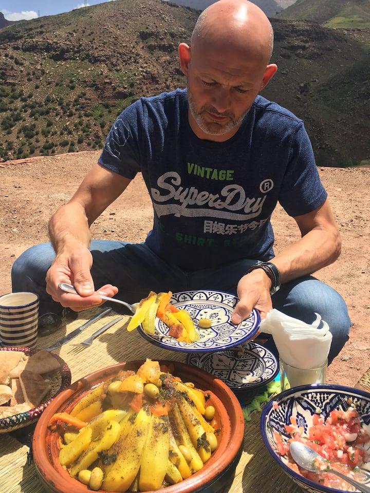 Tasting organic home- made food.