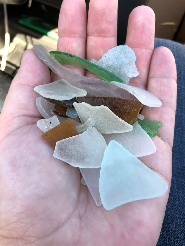 great variety of colors in the sea glass