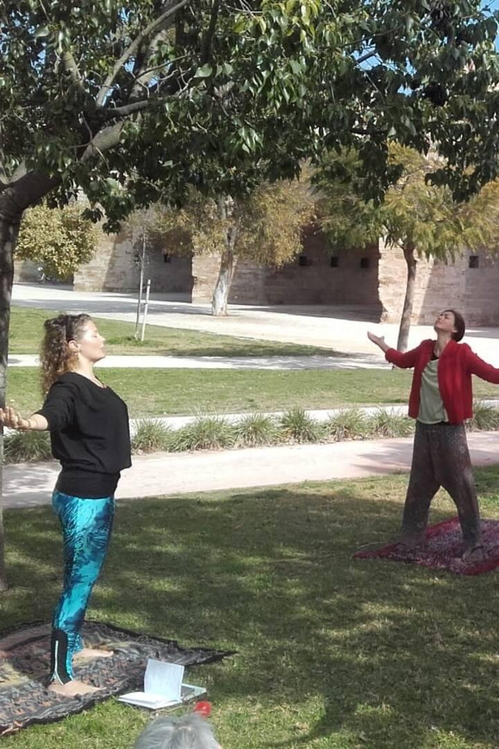Christina leading the Dru Yoga session