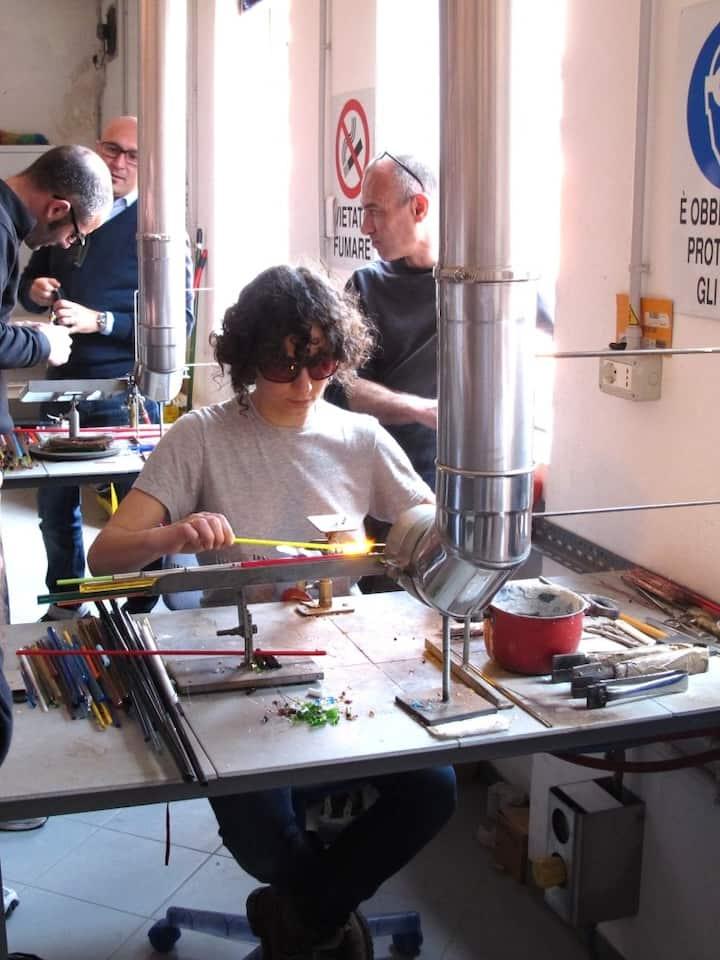 Marianna at work in Murano Studio