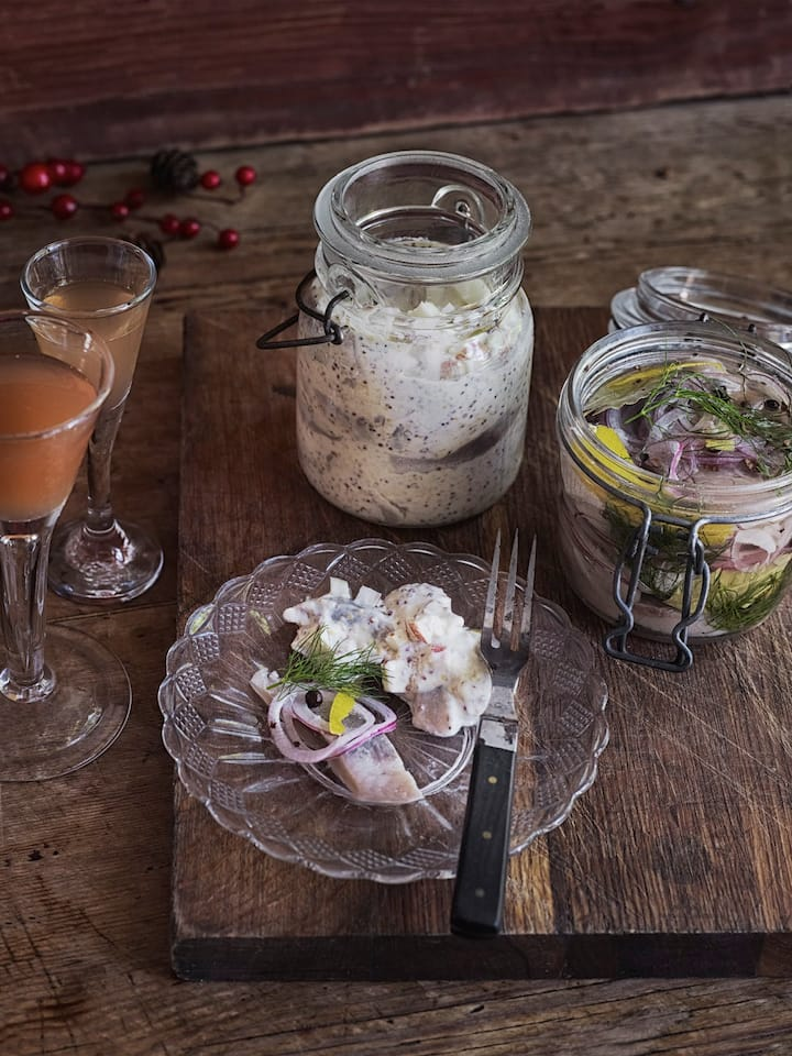 Traditional pickled herring