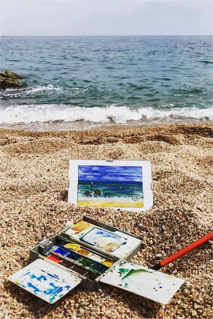 Watercolour painting Sant Pol De Mar