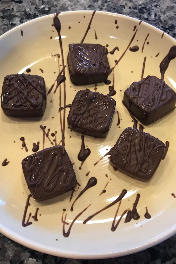 Chocolate drizzle with nuts
