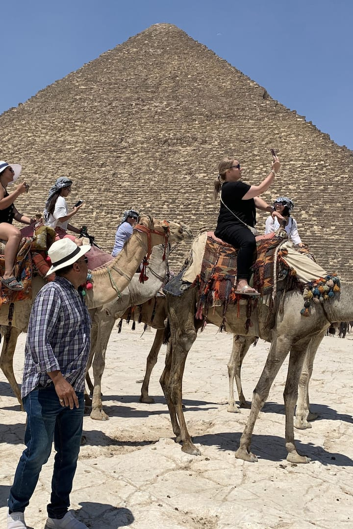 YOU CAN COME FOR MAKE THE TRIPS CAMEL RIDE AFTERYOU TAKE YOUR BREAKFAST EGYPTIAN FALAFEL sandwich AND WATER SOWESTART OUR TOUR DURATION FIVE HOURS FORE THE PYRAMIDS OF QUEEN'S FROM INSIDE LONGTIME