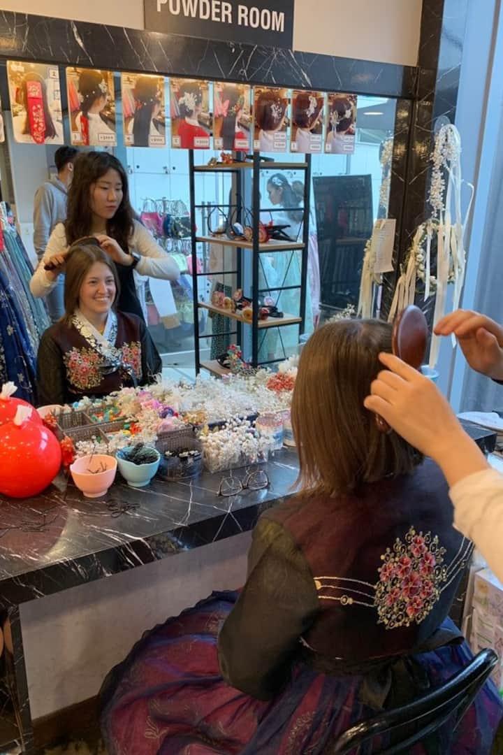 Hair Styling at Hanbok Shop