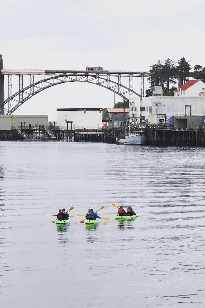 Kayaking towards the Yaquina Bay bridge