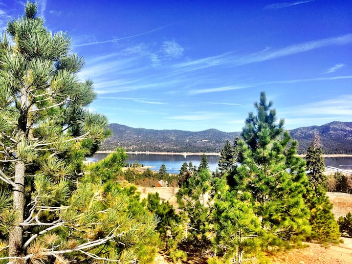Sparkling Big Bear Lake in the distance